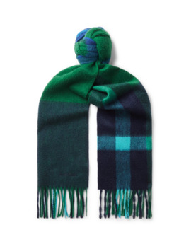 Amanda Fringed Checked Cashmere Scarf by Paul Smith