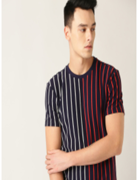 Men Navy Blue & Red Striped Round Neck T Shirt by United Colors Of Benetton