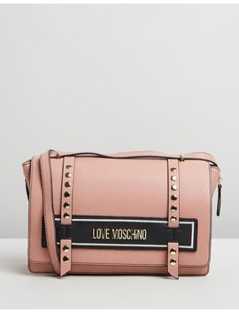 Stud Contrast Logo Cross Body Bag by Love Moschino