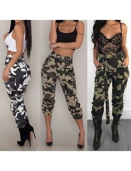 2019 Nouveauté Femmes Camo Cargo Pantalon Décontracté Dame Long Pantalon Camouflage Vêtements Taille Haute Passe Poches Sans Ceinture by Ali Express.Com