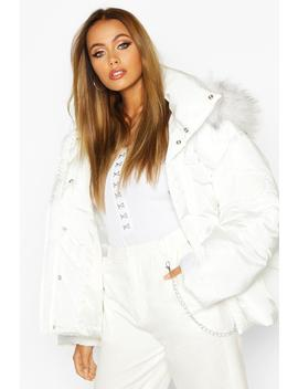 Double Pocket Faux Fur Trim Puffer by Boohoo