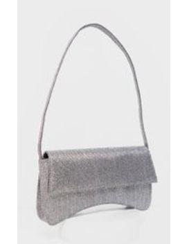 Silver Textured Glitter Flap Over Baguette Shoulder Bag  by Prettylittlething