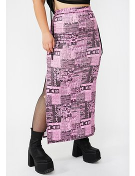 Plus Newspaper Maxi Skirt by New Girl Order