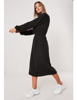 Black Zip Front Midi Sweater Dress by Missguided
