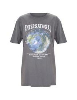 Charcoal Grey International Print Oversized Short Sleeve T Shirt by Prettylittlething