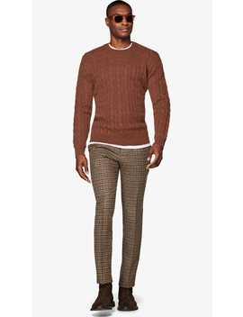 Brown Cable Crewneck by Suitsupply