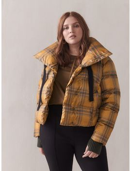 Jazzy Plaid Short Puffer Jacket   Sosken Jazzy Plaid Short Puffer Jacket   Sosken by Addition Elle
