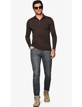 Dark Brown Long Sleeve Polo by Suitsupply