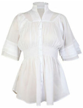 Ladies New White Batwing 3/4 Sleeve Top Womens Elasticated Waist Button Shirt by Ebay Seller