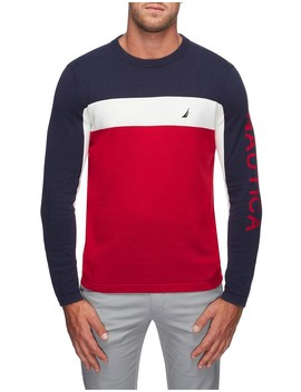 Crew Neck Logo Blk Sweater by Nautica