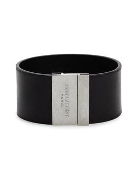 Ysl Calfskin Leather Cuff Bracelet by Saint Laurent