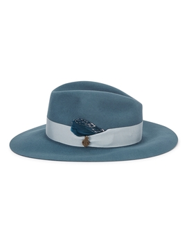 Chester Blue Wool Felt Fedora by Christys' London