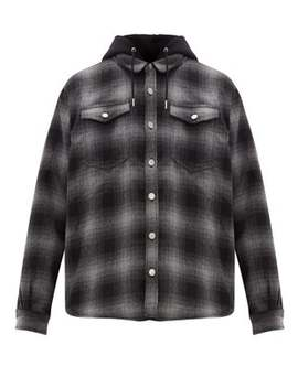 Alpha Checked Flannel Hooded Overshirt by Eytys