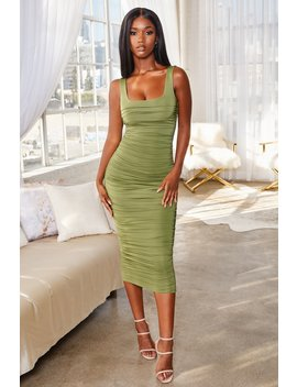 All Night Long Ruched Bodycon Midi Dress In Olive Green by Oh Polly
