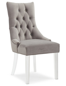 Crystal Studded Velvet Accent Chair With Acrylic Legs, Gray by Inspire At Home