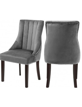 Oxford Velvet Dining Chair, Set Of 2, Gray by Meridian Furniture