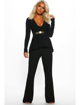 Gold Luxe Black Belted Long Sleeve Peplum Jumpsuit by Pink Boutique