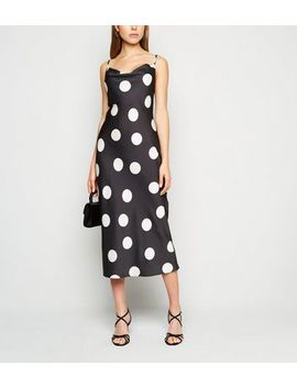 Black Polka Dot Satin Midi Slip Dress by New Look