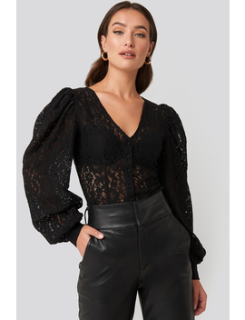 Volume Puffy Sleeve Lace Blouse Black by Na Kd Trend