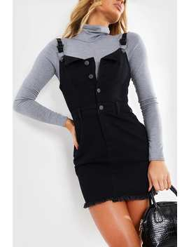 Black Pinafore Denim Mini Dress by In The Style