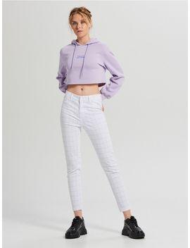 Spodnie W Kratę Z Wysokim Stanem by Cropp