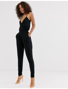 Asos Design Tall   Cami Jumpsuit Met Overslag En Smaltoelopende Pijpen by Asos Design