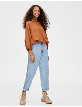Camisa Oversize Cordón by Pull & Bear