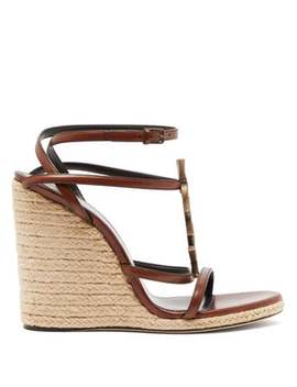 Cassandra Ysl Monogram Leather Wedge Sandals by Saint Laurent