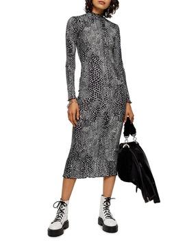 Cut And Sew Animal Print Long Sleeve Midi Dress by Topshop