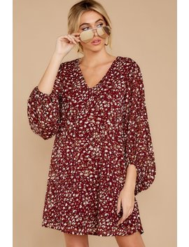 Still Chasing You Dark Wine Print Dress by Entro