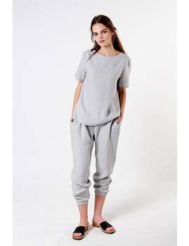 sky-linen-pants,-linen-pants-for-woman,-grey-laundered-linen-pants,-natural-handmade-linen-pants,-grey-linen-pants-for-woman by etsy
