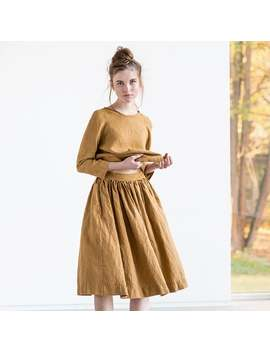 linen-skirt-1950s-city-_-with-deep-pockets-_-a---line-washed-linen-skirt-_-midi-linen-skirt-_-high-waist--linen-skirt-in-amber-yellow by etsy