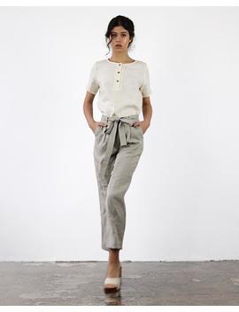 Dakota Linen Pants With Belt, Linen Pants For Woman,  Laundered Linen Pants, Natural Handmade Linen Trousers,  Linen Cigarette Pant by Etsy