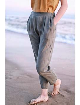 Leticia Linen Pants, Linen Pants For Woman, Grey Laundered Linen Pants, Natural Handmade Linen Pants, Grey Linen Pants For Woman by Etsy