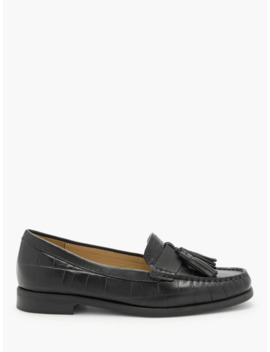 John Lewis & Partners Geva Tassel Trim Loafers, Black by John Lewis & Partners