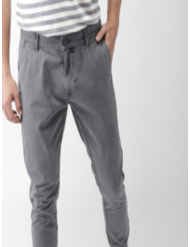Men Grey Jogger Fit Solid Chinos by Mast & Harbour