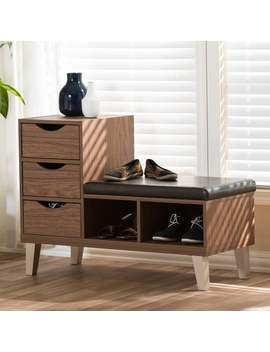 Arielle Modern 3 Drawer Shoe Storage Padded Seating Bench by Baxton Studio
