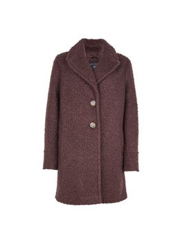 Chocolate Boucle Button Coat by Dorothy Perkins