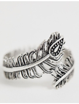 Asos Design Plus Peacock Feather Ring In Burnished Silver by Asos Design