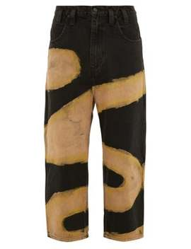 Cropped Bleached Wide Leg Jeans by Eckhaus Latta