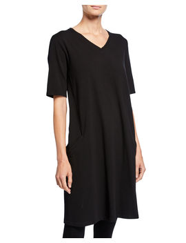 V Neck Short Sleeve Jersey Dress by Eileen Fisher