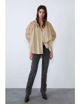 Popelinowa Koszula Z WiĄzaniem Zobacz Więcej Koszule I Bluzki Kobieta by Zara