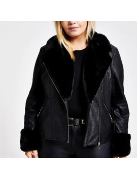 Plus Black Faux Fur Quilted Biker Jacket by River Island