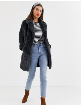 New Look Tall Faux Fur Label Coat In Gray by New Look