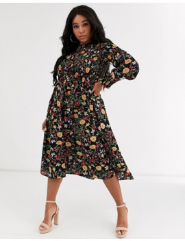 Never Fully Dressed Plus Shirred Midi Skater Dress In Dark Floral Print by Never Fully Dressed