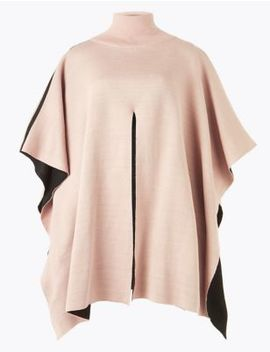 Contrast Split Front Poncho by Marks & Spencer
