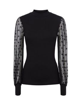 Black High Neck Spot Mesh Sleeve Top by New Look