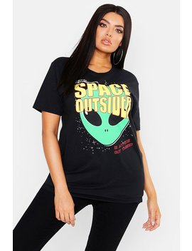 Plus Oversized Space Outsiders T Shirt by Boohoo