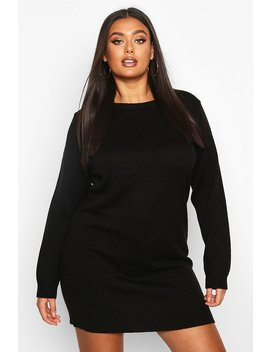 Plus Crew Neck Long Sleeve Dress by Boohoo
