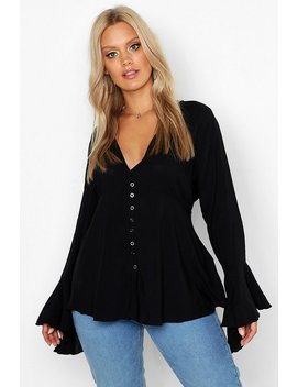 Plus Button Detail Plunge Flare Sleeve Blouse by Boohoo